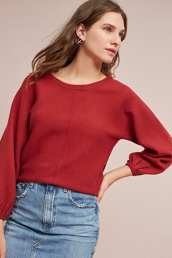Marlena Balloon-Sleeved Pullover - Red, Size L