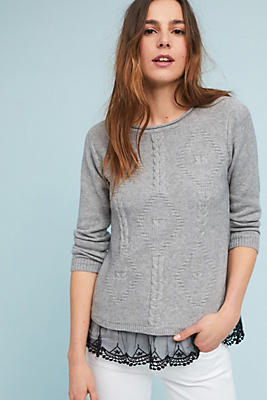 Slide View: 1: Lace-Layered Pullover
