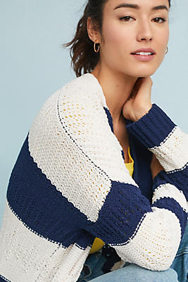 Slide View: 1: Striped Chenille Cardigan
