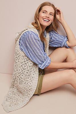 Slide View: 1: Hooded Crochet Vest