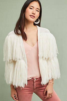 Slide View: 1: Cece Fringed Cardigan