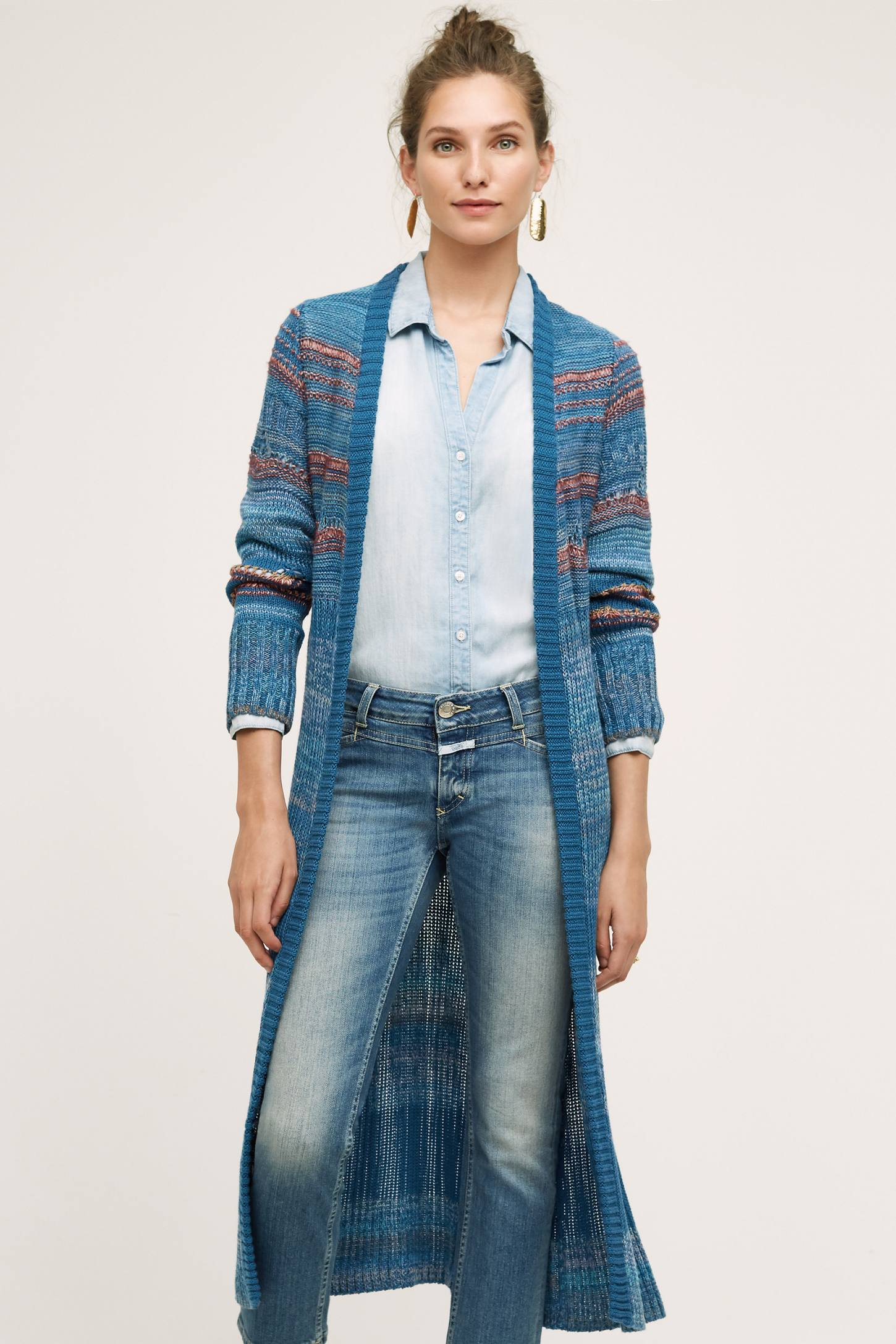 Ibera Longline Cardigan, Blue | Anthropologie