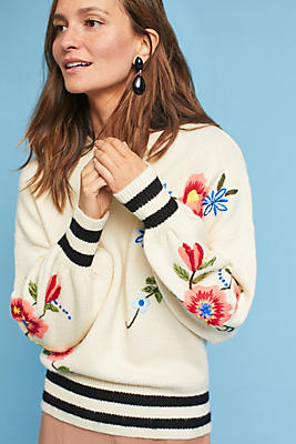 Slide View: 1: Gardenstripe Embroidered Pullover