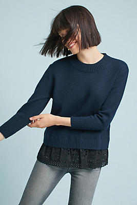 Slide View: 1: Jodi Poplin Layered Sweater