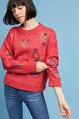 Slide View: 1: Terese Embroidered Pullover