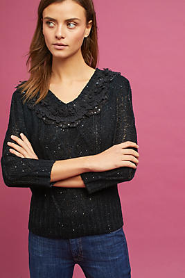 Slide View: 1: Lace-Trimmed Pullover