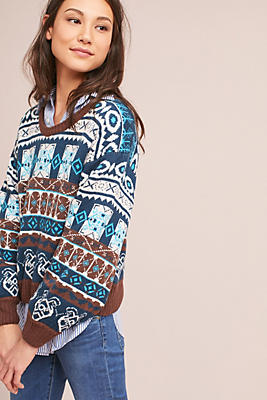 Slide View: 3: Fair Isle Ballon-Sleeve Pullover