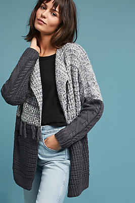 Slide View: 1: Fringed Colorblock Cardigan