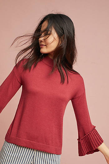 Pleated-Sleeve Pullover