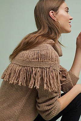 Slide View: 1: Fringed Mock Neck Pullover