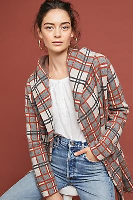 Slide View: 1: Plaid Wool Coat