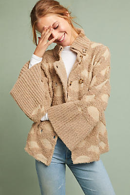 Slide View: 1: Intarsia Spotted Cardigan