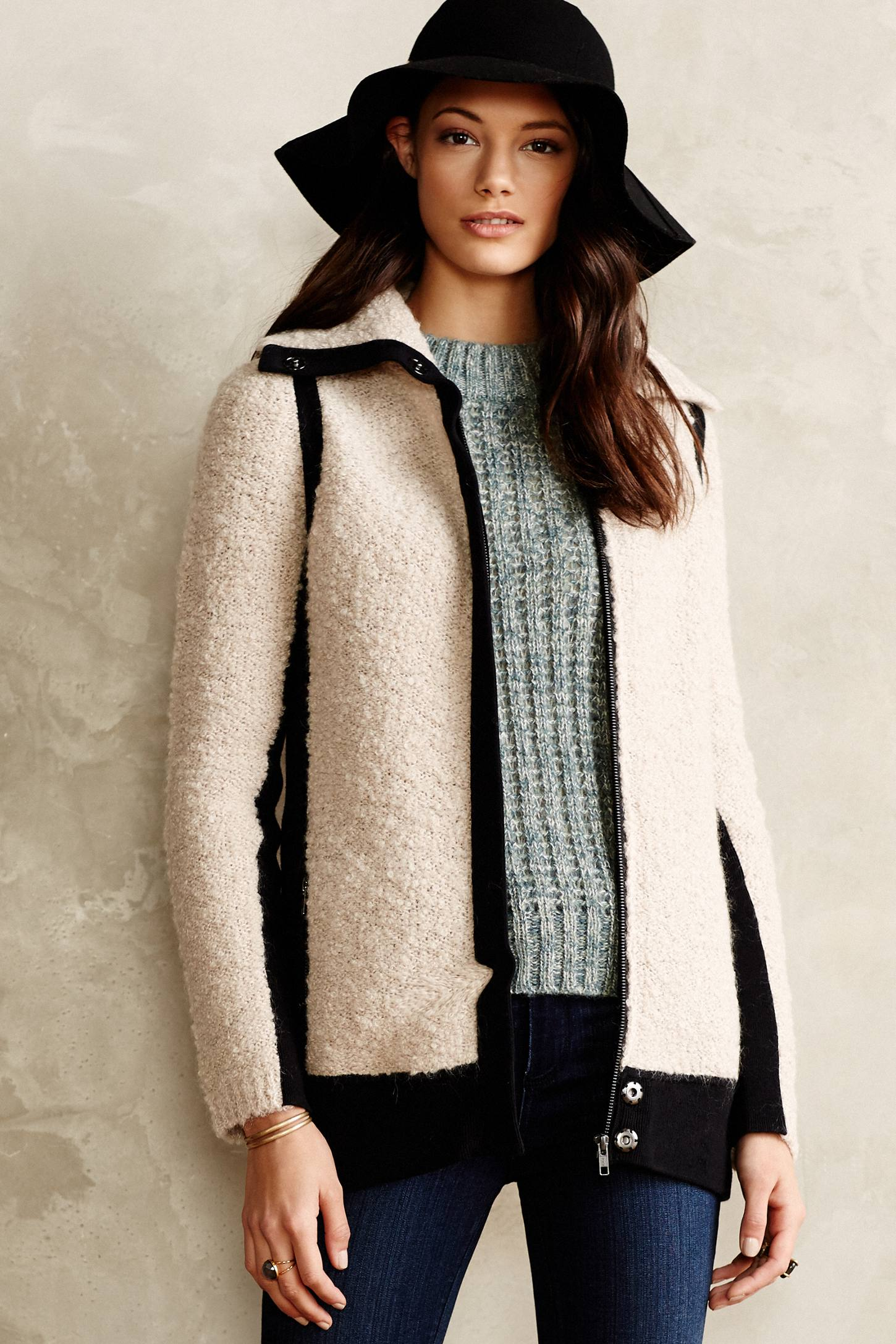 Colorblocked Boucle Coat