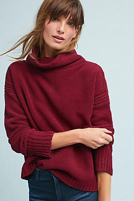 Slide View: 1: Chenille Mock Neck Pullover
