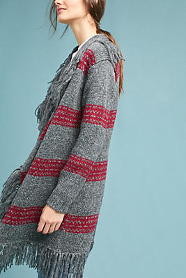 Slide View: 1: Fringed & Striped Cardigan
