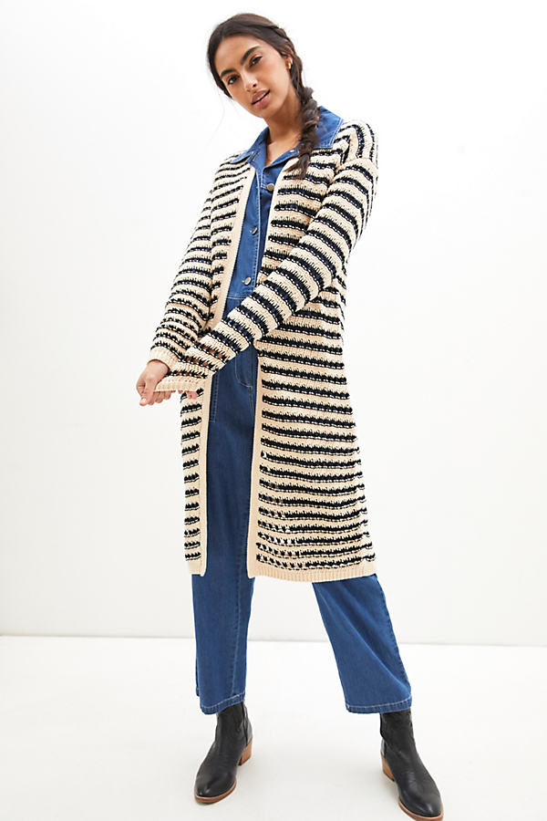 Maeve Lana Striped Longline Cardigan