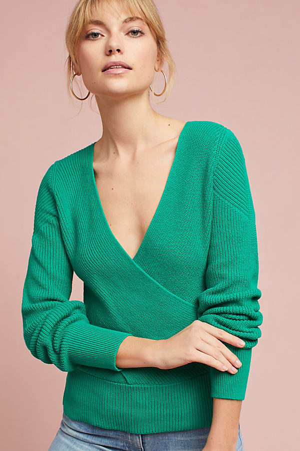 Liza Wrapped V-Neck Sweater - Green, Size Xl
