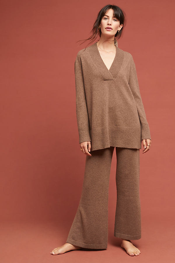 Cashmere Flare Trousers - Beige, Size L