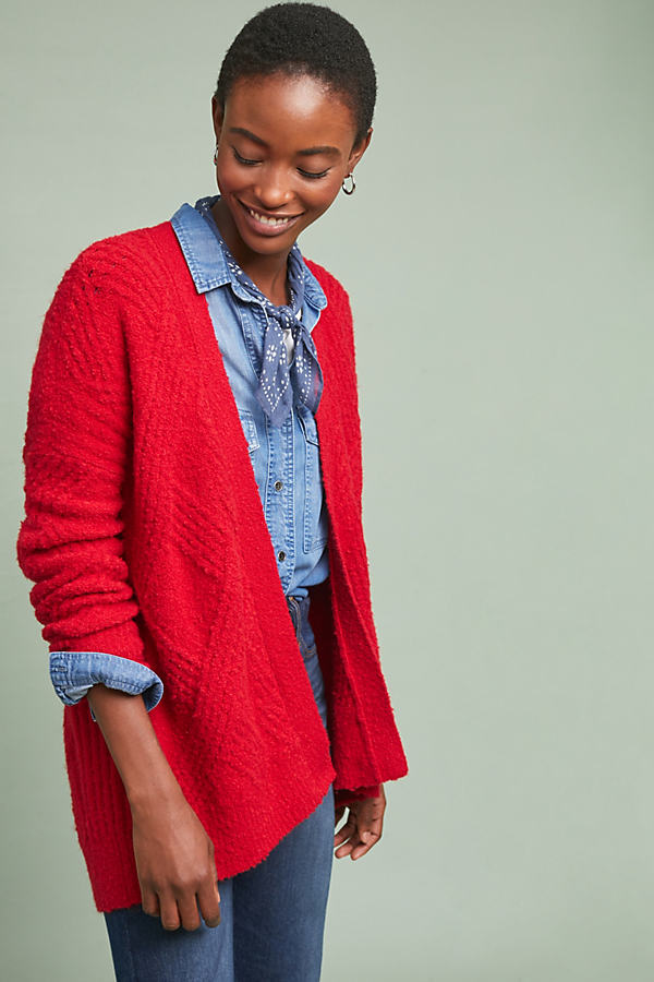 Cable-Knit Cardigan - Red, Size L