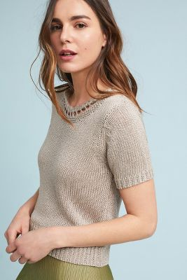 Mo:Vint   Latticed Sweater Tee  -    NEUTRAL