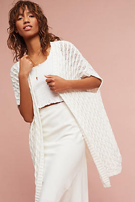 Slide View: 1: Open-Stitched Cardigan