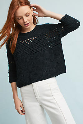 Slide View: 1: Chenille Stitched Pullover