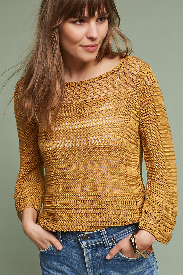 Teague Boatneck Pullover, Yellow - Honey, Size M