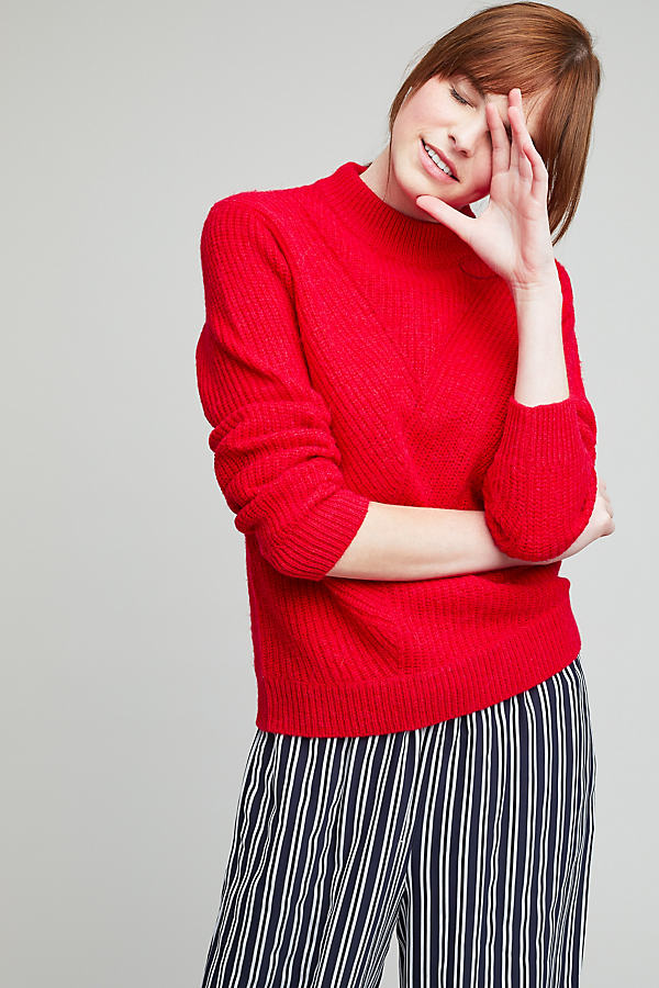 Naomi Ribbed Pullover, Red - Red, Size M