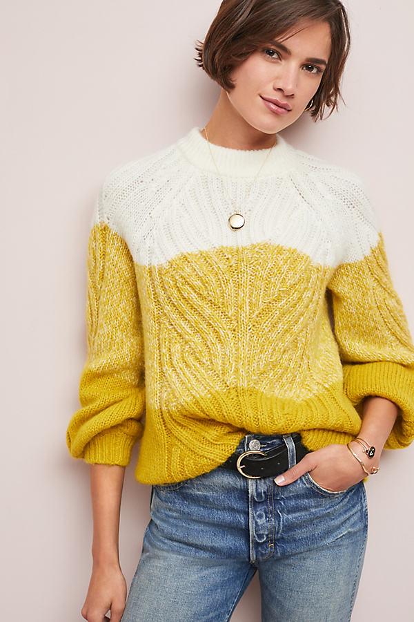 Colour Block Cable Knit Jumper - Yellow, Size L