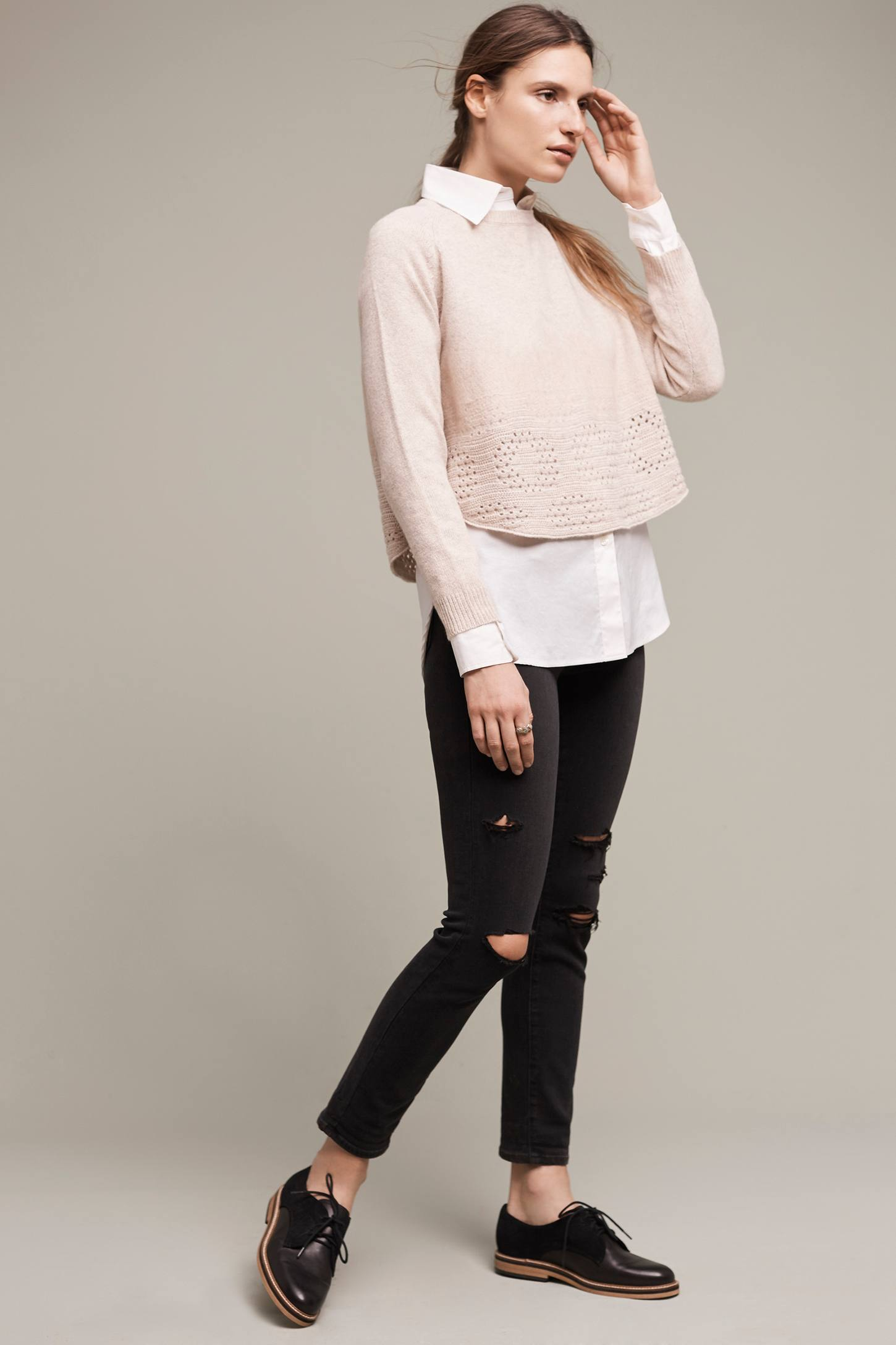 Slide View: 2: Cropped Pointelle Pullover