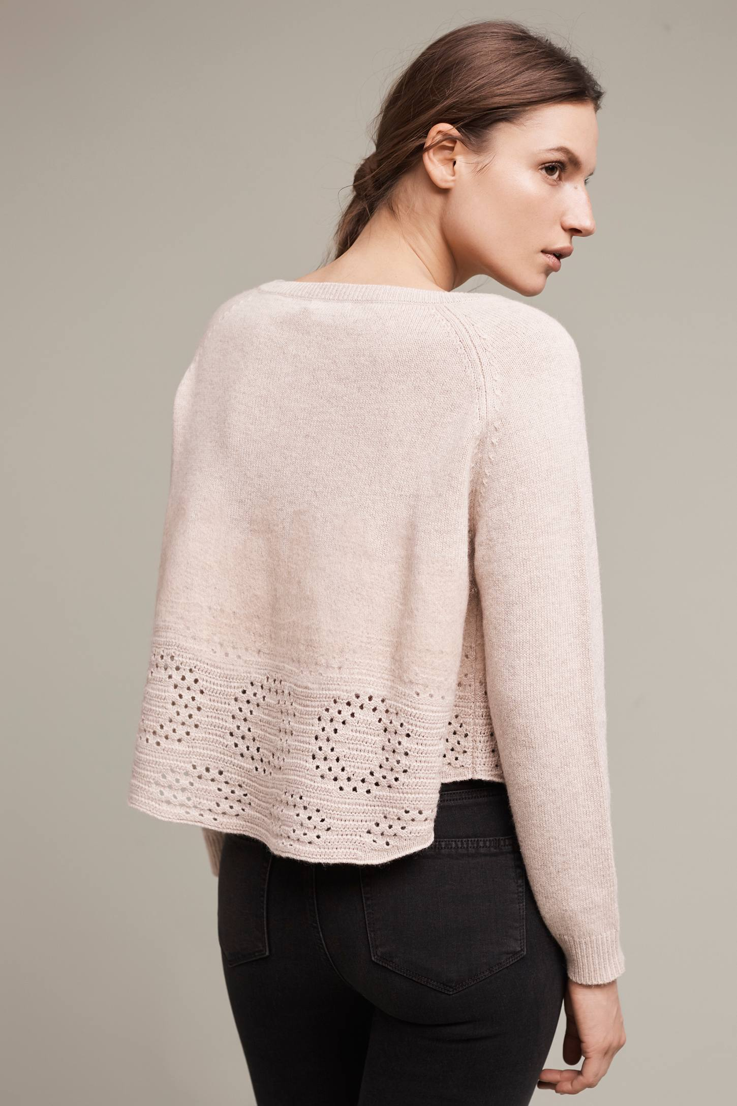 Slide View: 4: Cropped Pointelle Pullover