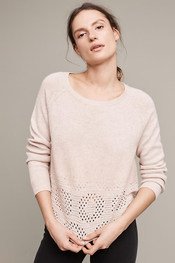 Slide View: 1: Cropped Pointelle Pullover