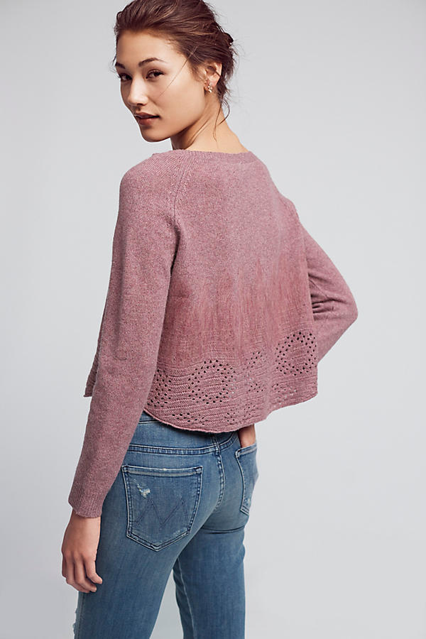 Slide View: 3: Cropped Pointelle Pullover