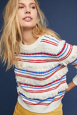 Slide View: 1: Fringed Stripe Pullover