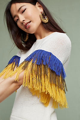Slide View: 1: Fringed Sleeve Pullover