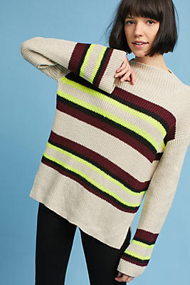 Slide View: 1: Striped Mock Neck Sweater