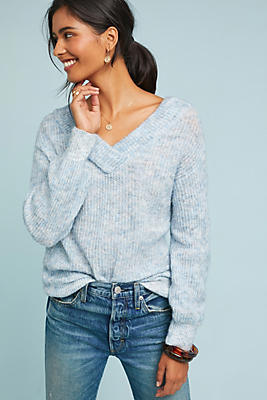Slide View: 1: Marled V-Neck Pullover