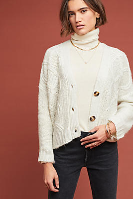 Slide View: 1: Clason Cable-Knit Cardigan