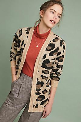 Slide View: 1: Leopard Knit Cardigan