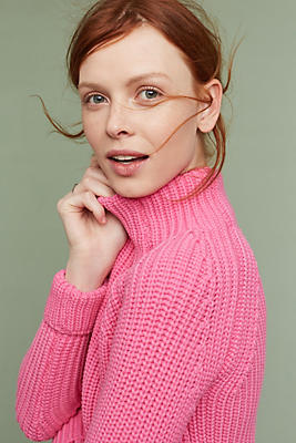 Slide View: 1: Cropped Turtleneck Pullover