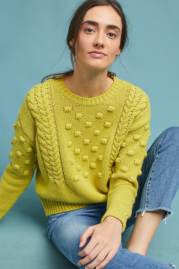 Agata Pom Pom Sweater, Yellow - Chartreuse, Size Xl