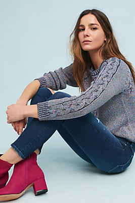 Slide View: 1: Metallic Cable Pullover
