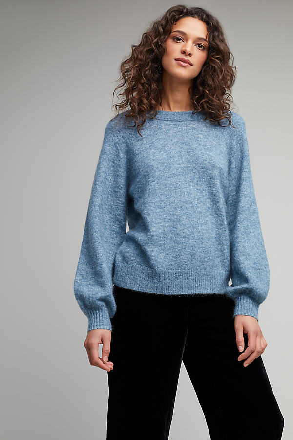 Bailey V-Back Balloon Sleeve Jumper - Blue, Size Xs
