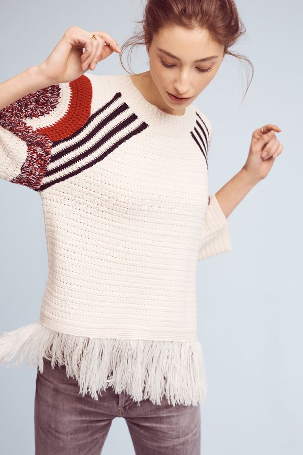 Moon River Sunset Fringed Pullover