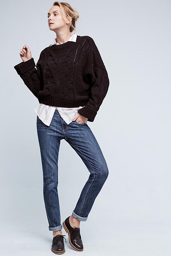 Slide View: 2: Cropped & Cabled Sweater