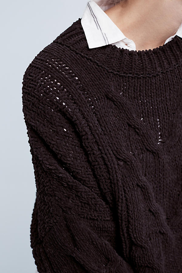 Slide View: 3: Cropped & Cabled Sweater
