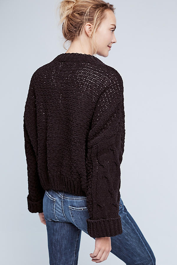 Slide View: 4: Cropped & Cabled Sweater