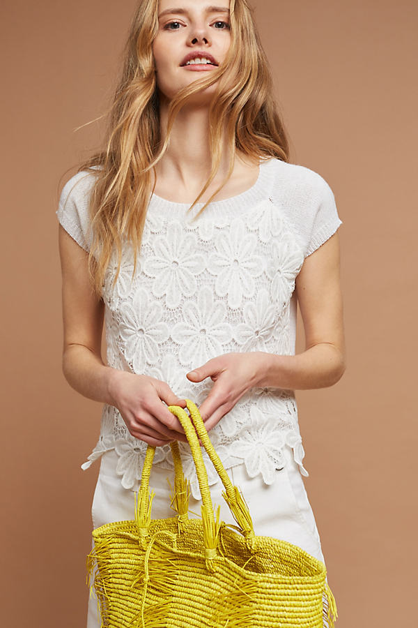 Domani Lace Pullover, White - White, Size M