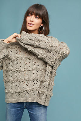 Slide View: 1: Textured Pointelle Sweater