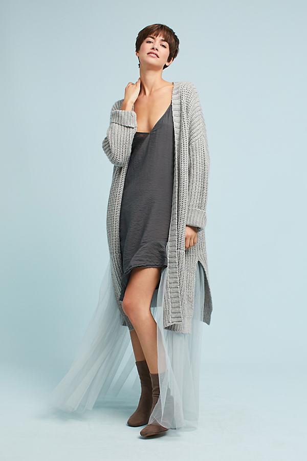 Alice Tulle Longline Cardigan - Grey, Size S